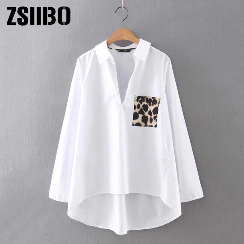 Ropa de mujer Blusa blanca con dobladillo y estampado de leopardo tallas grandes Casual de manga larga para mujer blusas lisas sueltas