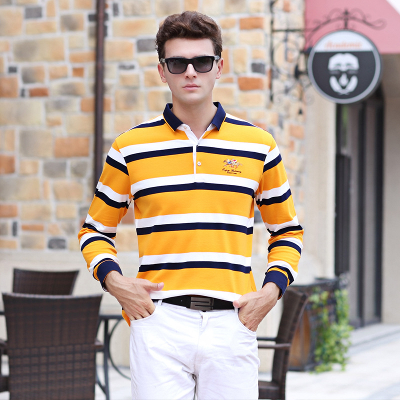 New arrival autumn winter long sleeve striped   polo   shirt men brand clothing business casual cotton plus size XXXL camisa 17277