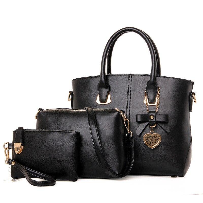 ФОТО Women Bag Set Luxury Brand Designer Women Leather Handbags High Quality Solid Shoulder Bags Ladies Fashion Women Messenger Bags
