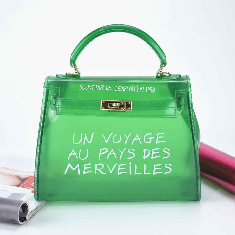 a89edf4a8f4e ... Крутая и пляжная прозрачная сумка женская большая прозрачная оранжевая  ПВХ Прозрачная женская пластиковая сумка ПВХ желе