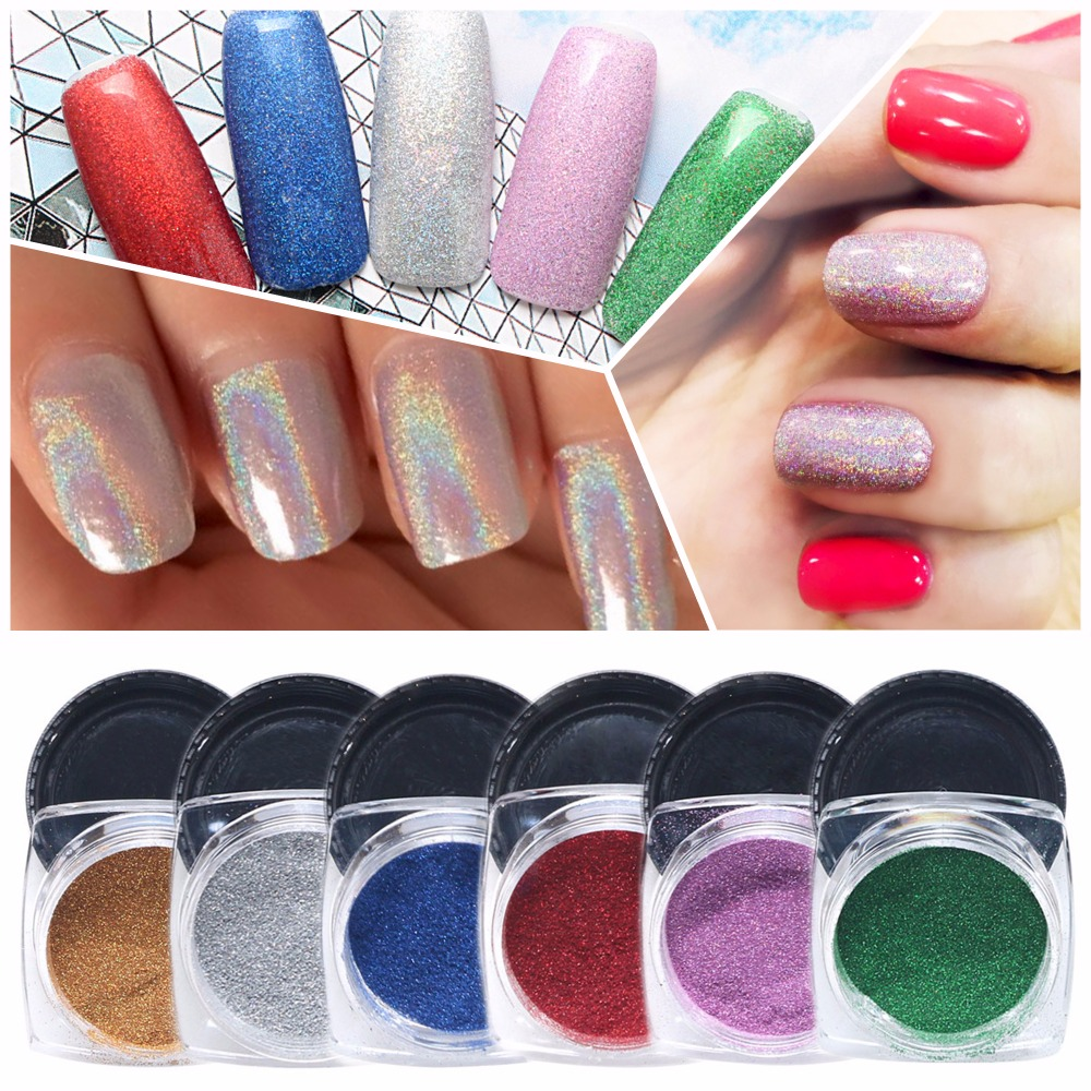 1g / Bottle Nail Glitter Powder + 1pc Brush # Nail Art hologram powder Debu Shinny berwarna-warni serbuk cermin hiasan seni kuku