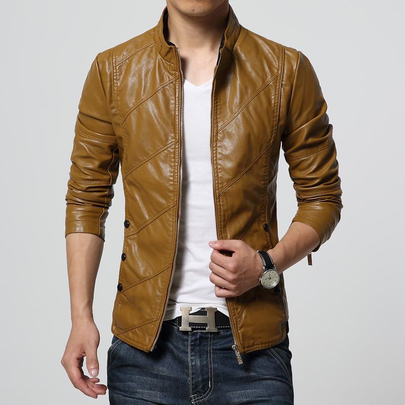 Aliexpress.com : Buy New Fashion PU Leather Jacket Men Black Red ...