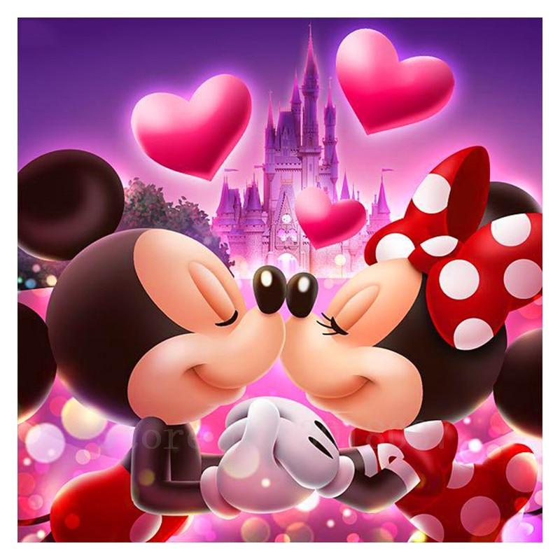 5D Diy Diamantmålning Korsstygn Kiss Loving Mouse Par Diamond Mosaic Full Diamond Broderi Rhinestone Gift Decoration