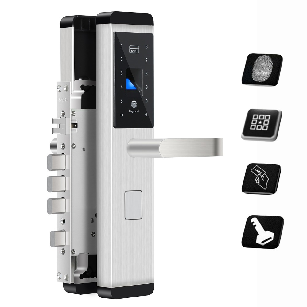 Fingerprint Door Lock Digital Fingerprint / Password / Key / Card 4 in 1 Lock Electronic Smart Door Locks For Home Office