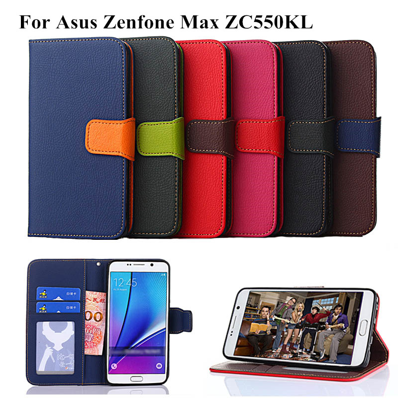 """PU Leather Case for Asus ZenFone Max ZC550KL 5.5"""" Luxury Newest Wallet Case Stand Cover with Card Slot K'try"""