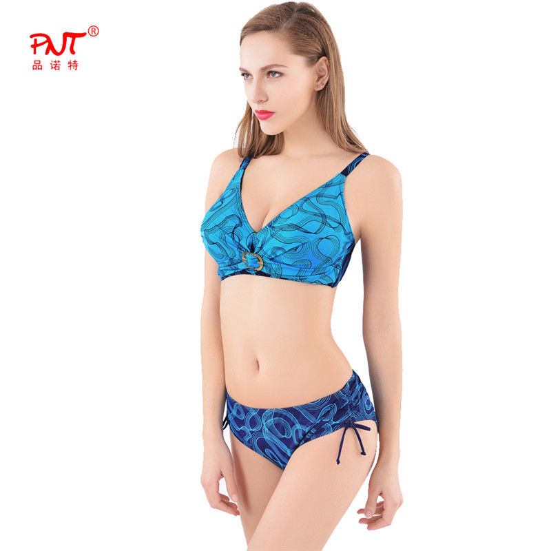 PNT Sport Bikini Low Waist print Swimwear Women Sexy Bandage Swimsuit Strappy Padded Wire Free Beach Cover Ups