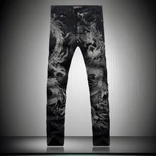 Men Personality China Dragon Pattern Jeans Male Black Slim Straight Denim Trousers Unique Print Night Club Denim Pants Plus Size