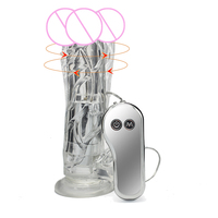 Superior Soft Jelly Big Dildo Vibrator Rotating Vibrating Realistic Dildo With Suction Cup Penis Sex Toys