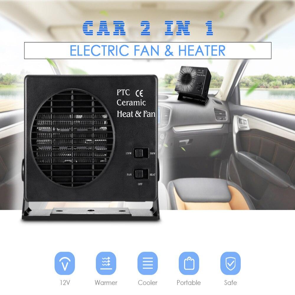 Portable 2 in 1 Car Parking Heater Electric Fan 12V Car 150W / 300W Defroster Demister Adjustable Car Heating Fan Powerful