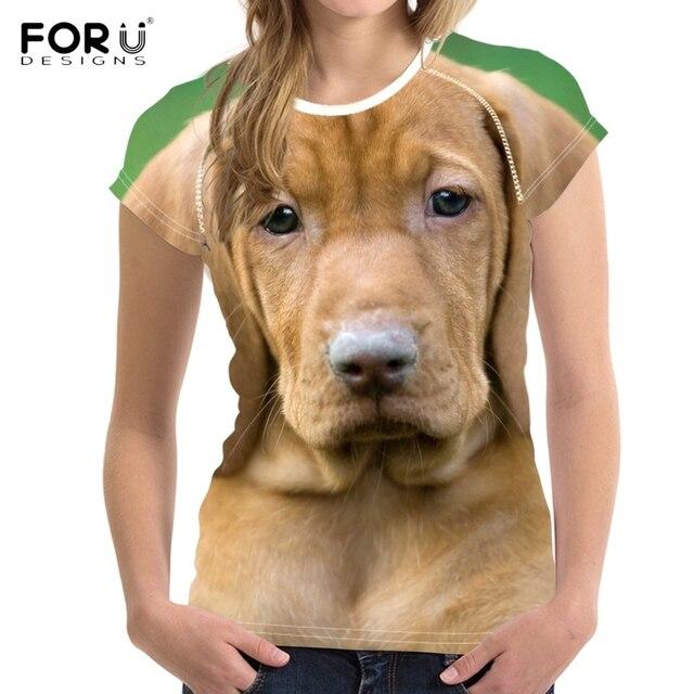 beaf0b762814 FORUDESIGNS Lovely 3D Dog/Puppy Vizsla Print Woman's T-shirts Fashion  Summer Short Sleeve Tees Clothing Breathable Tshirts Girls