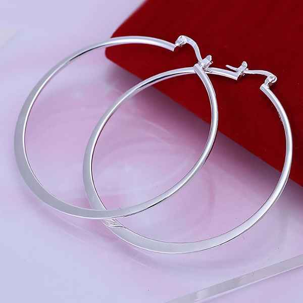 925 Jewelry Silver Plated Wholesale Free Shipping Earrings for women Flat Round Earrings /acjaitqa aciaitpa LQ-E043