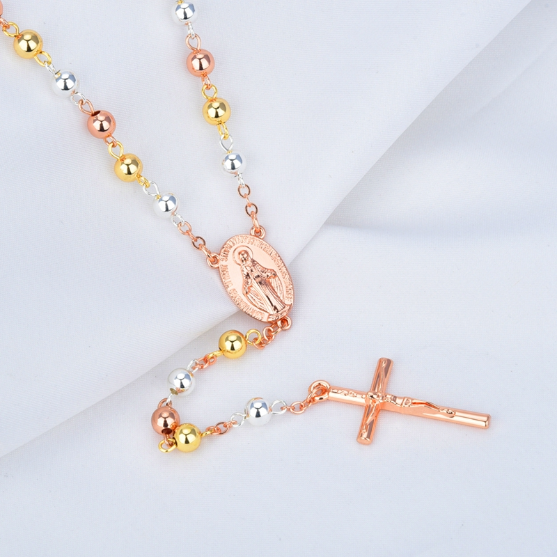 Women catholic religious multicolor virgin mary tri color rosary women catholic religious multicolor virgin mary tri color rosary necklace jewelry rose cross pendant in pendant necklaces from jewelry accessories on aloadofball Images
