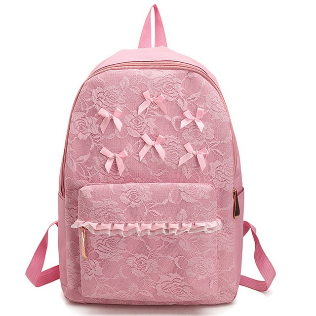 1300024a1798 Women Fashion Backpacks Teenager Girls Lace Bow Schoolbags Travel Bags  Campus Backpacks Bowknot Students Daypacks Mochilas B154