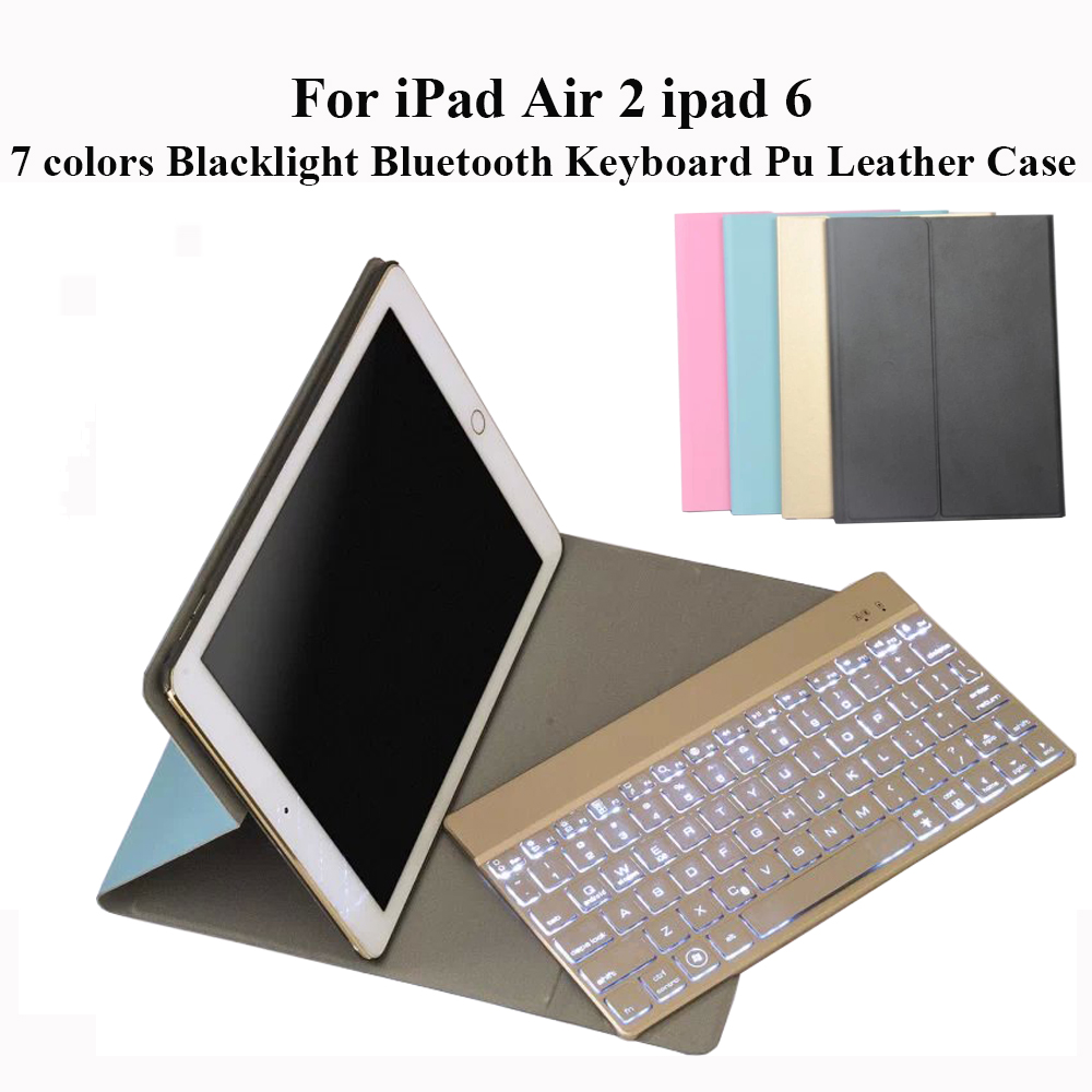 For iPad Air 2 iPad 6 Ultrathin Folio PU Leather Case with Detachable 7 Colors Backlight Backlit Wireless Bluetooth Keyboard ultrathin wireless keyboard for ipad air bluetooth keyboard with 7 colors backlight backlit magnetic rotating slot smart cover