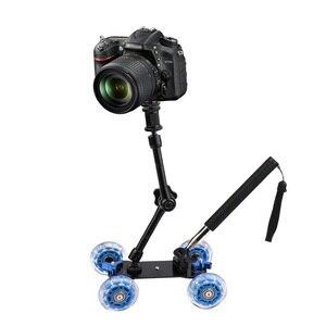 Image 5 - 3in1 كاميرا السكك الحديدية سيارة الجدول دوللي سيارة 11 بوصة الذراع السحري الهاتف يده Monopod Selfie عصا ل d1000 d3000 d3100 d3200