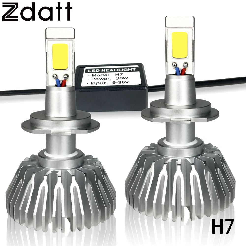 Zdatt 2Pcs Super Bright H7 Led Bulb 60W 6000LM Headlights Auto Led Lamp Fanless Car Led Light 6000K White DRL