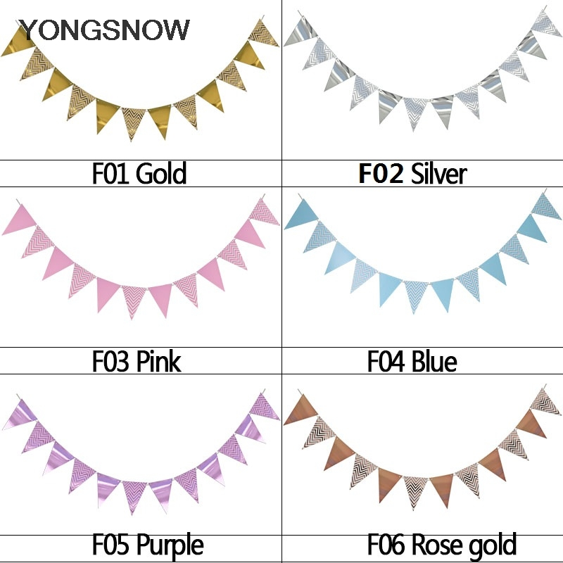 Image 4 - 1set Paper Garland Happy Birthday Banners Hanging Bunting Wedding Decoration Photo Props String Flags Baby Shower Party Supplies-in Banners, Streamers & Confetti from Home & Garden