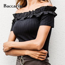 2019 Slash Neck Top Off Shoulder Sexy Short Pullovers Knitted Crop Top Solid Women Blouse Blusa Sueter tie neck off shoulder crop blouse