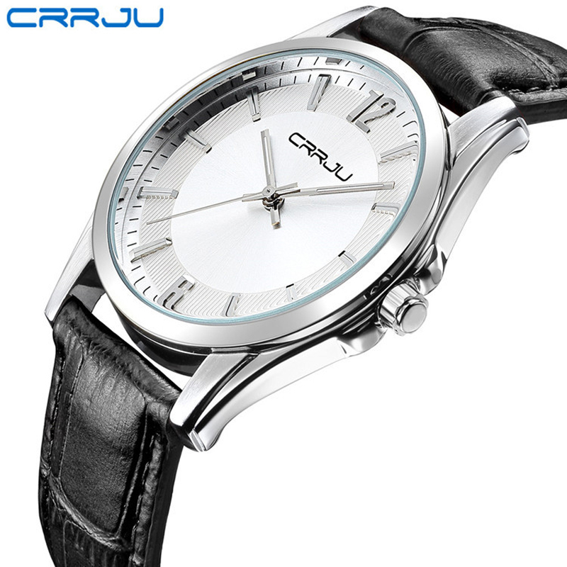 CRRJU Fashion Watch Men Casual Leather Watches 30M Water Resistant Quartz Wristwatches With Japan Movement Relogio Masculino