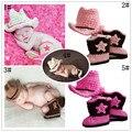 Новорожденных фото опора ручной работы младенца корова мальчик костюм крючком шляпа аксессуары для одежда шляпа + обувь 0-12мес