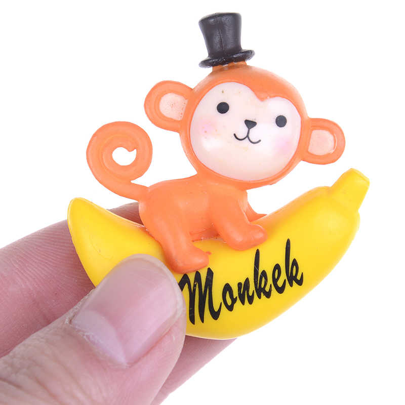Banana macaco estatueta decoração do bolo musgo ornamento figuras em miniatura resina artesanato dos desenhos animados animais estátua decoração presente brinquedo