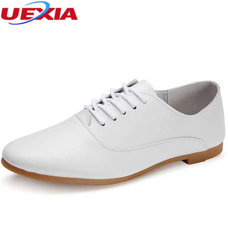 UEXIA PU Leather Spring Summer Loafers Women Casual Shoes Moccasins Soft Pointed Toe Ladies Footwear Women Flats Shoes Female women flats genuine leather shoes womens summer shoes pointed toe flats ladies cross elastic band footwear for pregnant women