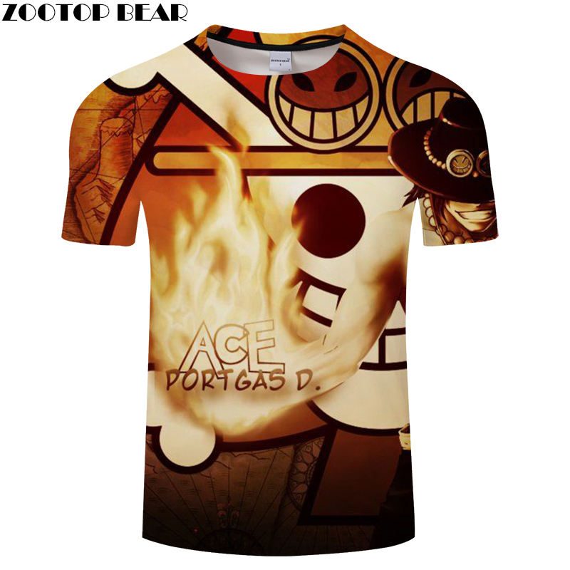 Pirate Men Shirts Short Streetwear Casual Shirt Anime One Piece Tee Cool Funny Boy Brand Breathable 3D Print t-shirt ZOOTOP BEAR