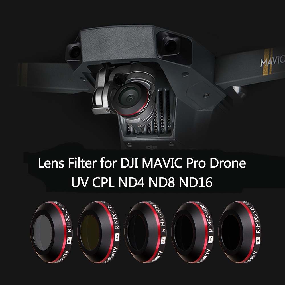 5 Pieces Multi Coated Filter Kits for DJI Mavic Pro Platinum Drone Camera CPL ND4 ND8 ND16 UV Lens Filters with Protective Case