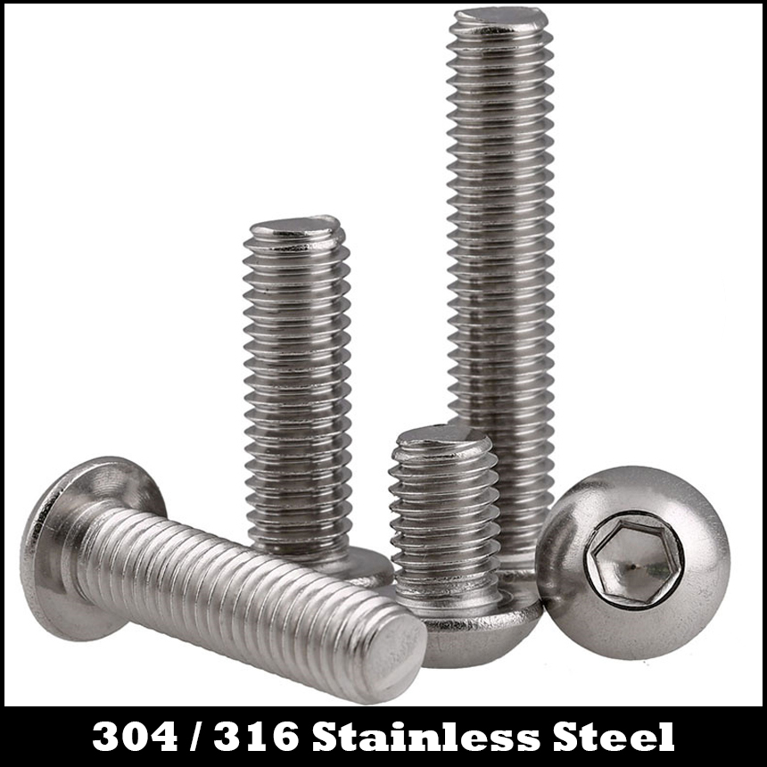 M6*8 M6x8 M6*10 M6x10 M6*12 M6x12 M6*20 M6x20 304 316 Stainless Steel ss DIN7380 Mushroom Round Hexagon Socket Button Head Screw 7pcs m6 60mm m6 60mm 304 stainless steel din7380 inner hex bolt hexagon socket mushroom round button head screw