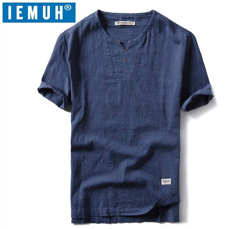 IEMUH nuevo senderismo correr camisetas hombres secado rápido deporte transpirable cuello en V ropa sólida manga corta estilo chino
