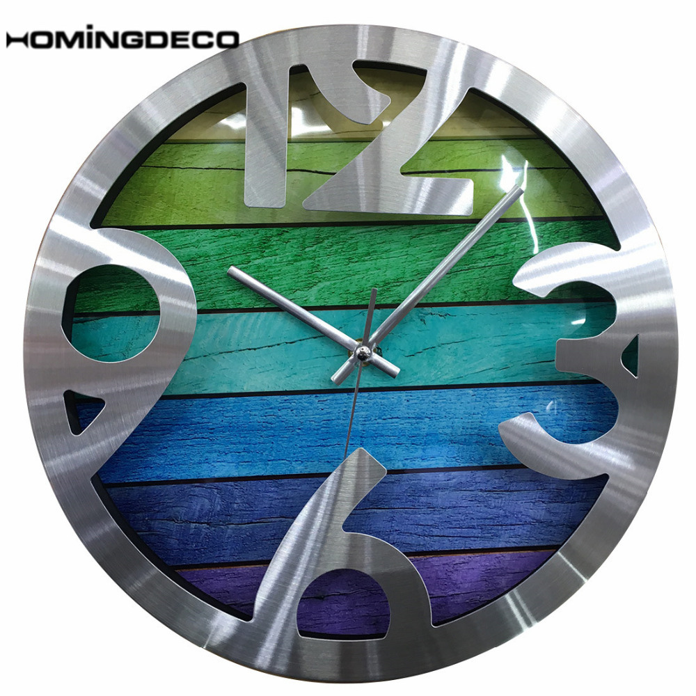 12Inch Simple Wall Clock Wood Modern Design Grain Silent Living Room Beautiful Wall Clocks Home Decor Quartz 2018