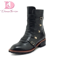 Doratasia brand design wholesale genuine leather chunky Heels Boots Women Shoes Woman buckles Shoes Woman Boots
