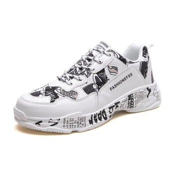 neujge 2019 new spring Korean trend men's sports and leisure men's shoes wild canvas graffiti lace-up shoes men 146303