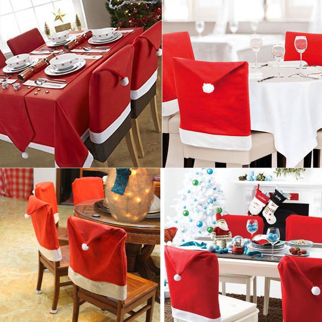 5e0c57e51fc5c Santa Red Hat Chair Covers Christmas Decorations Party Dinner Chair Xmas Cap  Set