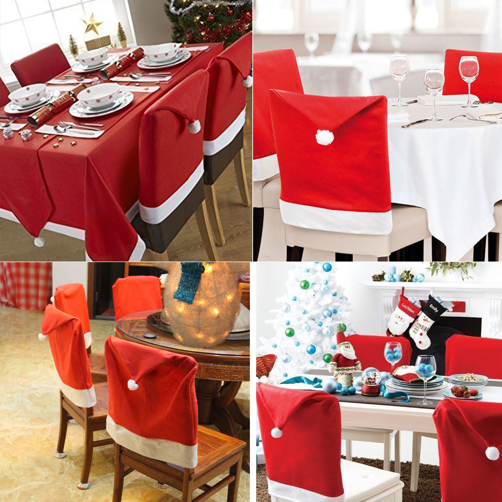 Christmas chair covers - Santa Red Hat Chair Covers Christmas Decorations Party Dinner Chair Xmas Cap Set China