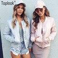 2016 otoño invierno de las señoras chaqueta de bombardero short streetwear polit de gran tamaño vintage rosa cremallera de la universidad de la moda de las mujeres abrigos básicos
