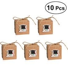 10 Uds papel Kraft clásico de Cajas de caramelos con doctorado tapa Etiqueta de tarjeta para fiesta de graduación favores en cajas de regalo