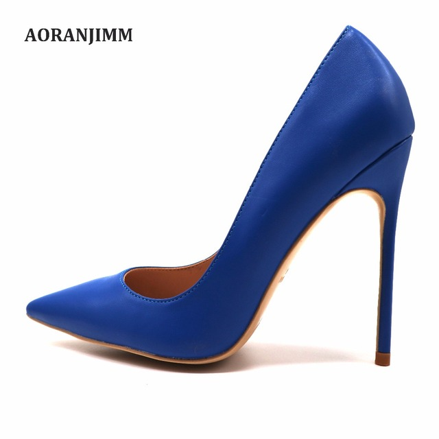 7a2ab3eb60a71 Free shipping real pic AORANJIMM royal blue matte pointed toe 120mm 10cm 8  cm high heel shoes pump on sale size US10, US12 US4