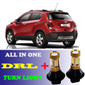 2pcs Dual Color Switchback  T20 7440 White DRL Daytime Running Lights&Amber Turn Signal light all in one For Chevrolet Trax