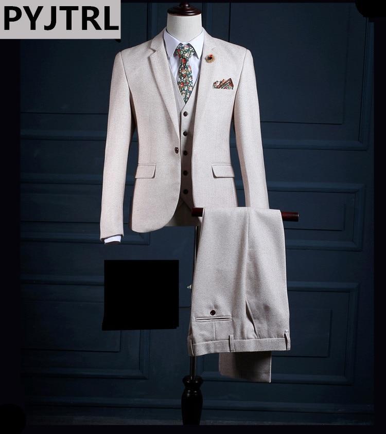 PYJTRL Brand High-end Beige White Three-piece Men Prom Suits Fashion England Wedding Groom Banquet Dress Suit Male