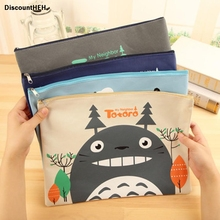 1 Pcs 34*25cm New Cute Cartoon Cat Series Canvas File Bag Cosmetic Bag File Product Office Supplies