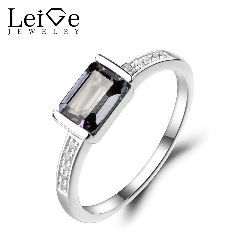 Leige Jewelry Solid 925 Sterling Silver Lab Alexandrite Wedding Rings Emerald Cut Color Changing Gemstone June Birthstone Ring цена