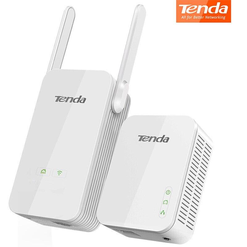 Tenda AV1000 Kit d'extension Wi-Fi Powerline avec Ports Gigabit Ethernet/Clone WiFi/prise domestique AV2/Powerline 1000 Mbps + WiFi 300 Mbps