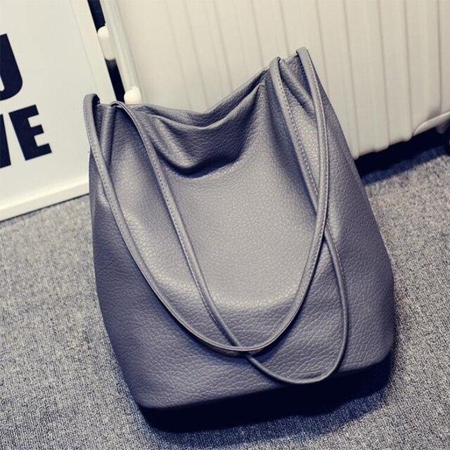 2018 Designer Women Leather Handbags Black Bucket Shoulder Bags Ladies  Cross Body Bags Large Capacity Ladies Shopping Bag Bolsa e1538dc357