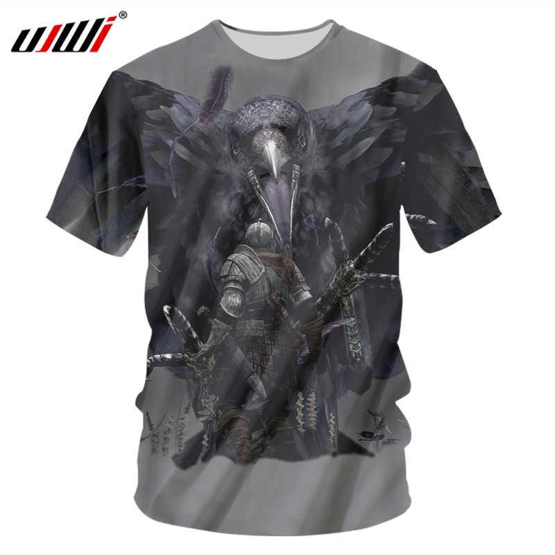 UJWI ворона меч рыцарь 3D футболки мужские модные брендовые мужские s повседневные 3D футболки с принтом Новинка Хип-Хоп Мужская одежда уличная одежда