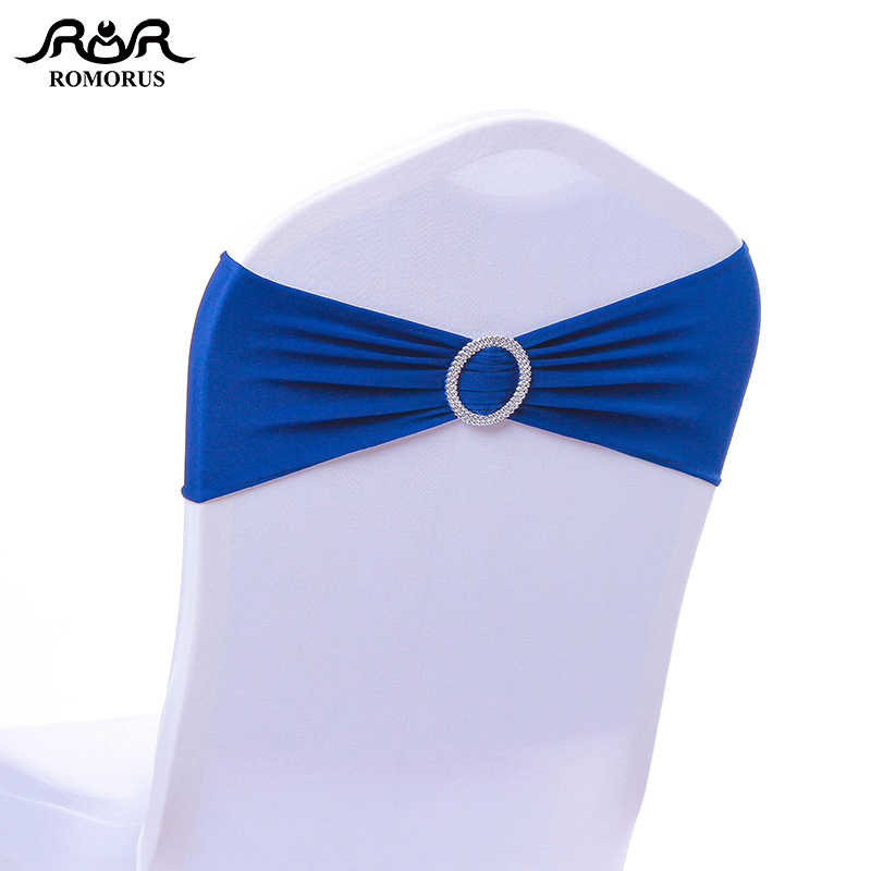 50pcs/Lot Elastic Spandex Lycra Wedding Chair Cover Sash Bands Decorative Chair Sashes for Party Banquet Royal Blue/White/Purple