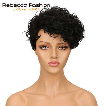 Rebecca Short Wavy Wig Brazilian Remy Human Hair Wigs For Women Brown Red Wine 10 Colors Choice Free Shipping - Category 🛒 Hair Extensions & Wigs