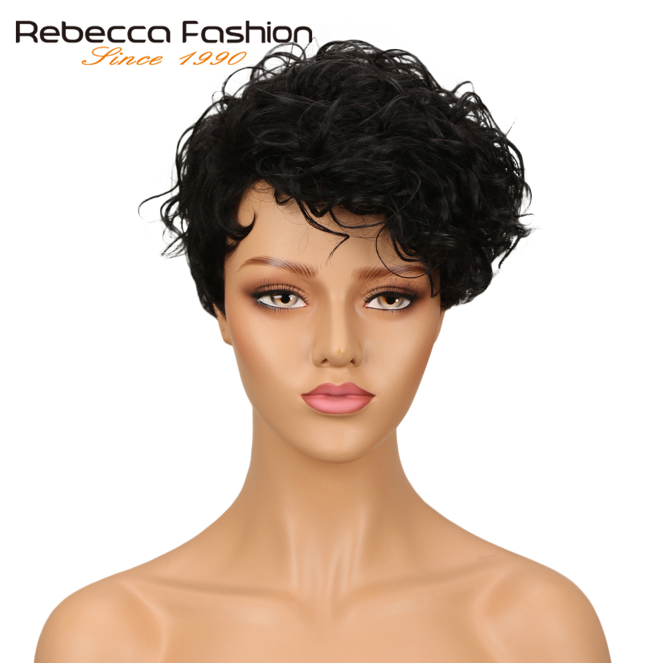 Rebecca Short Wavy Wig Brazilian Remy Human Hair Wigs For Women Brown Red Wine 10 Colors ...