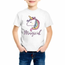Boys/Girls Printed Kawai T Shirt Fashion Cartoon Unicorn Children's T-shirt Summer Hip Hop horse Tops quality Tee Z8-4