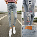 Fashion New arrival brand famous slim hole casual men jeans high quality summer style pants as a gift Free Shipping MF754129